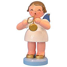 Engel mit Trompete - Blaue Flügel - stehend - 9,5 cm