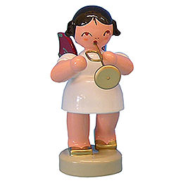 Engel mit Trompete - Rote Flügel - stehend - 6 cm