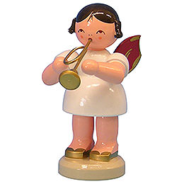 Engel mit Trompete - Rote Flügel - stehend - 9,5 cm
