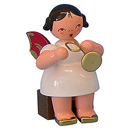 Engel mit Trompete - Rote Flügel - sitzend - 5 cm