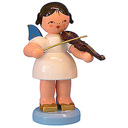 Engel mit Violine - Blaue Flügel - stehend - 9,5 cm
