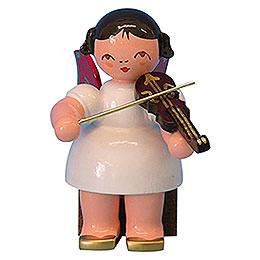Engel mit Violine - Rote Flügel - sitzend - 5 cm