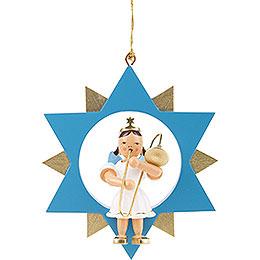 Engel mit Zugposaune im Stern, farbig - 9 cm