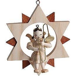 Engel mit Zugposaune im Stern, natur - 9 cm