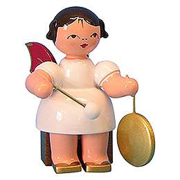 Engel mit kleinem Gong - Rote Flügel - sitzend - 5 cm