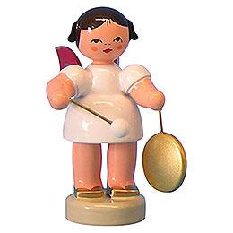 Engel mit kleinem Gong - Rote Flügel - stehend - 6 cm