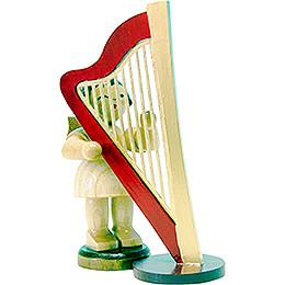 Engel stehend mit Harfe - natur - 9,5 cm