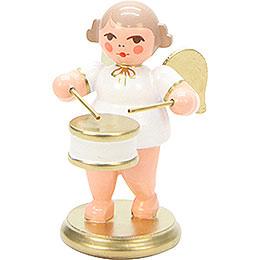 Engel weiß/gold mit Flachtrommel - 6,0 cm