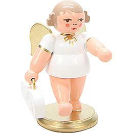 Engel weiß/gold mit Geigenkasten - 6 cm
