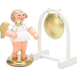 Engel weiß/gold mit Gong - 6,0 cm