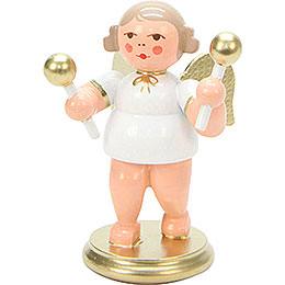 Engel weiß/gold mit Rumbakugeln - 6 cm