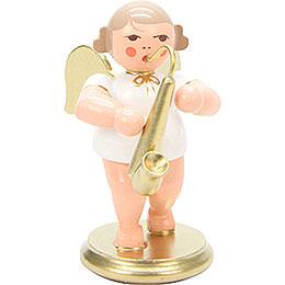 Engel weiß/gold mit Saxophon - 6,0 cm