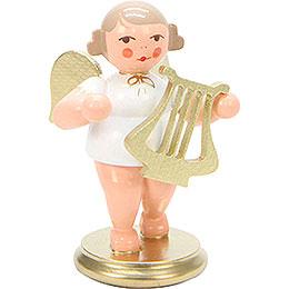 Engel weiß/gold mit Leier - 6,0 cm