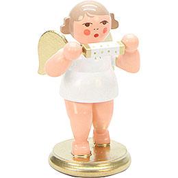 Engel weiß/gold mit Mundharmonika - 6,0 cm