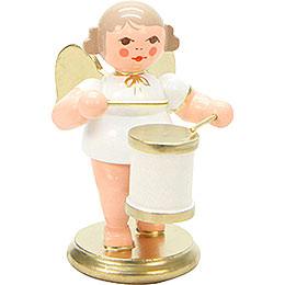 Engel weiß/gold mit Trommel - 6,0 cm