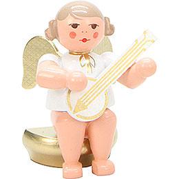 Engel weiß/gold sitzend mit Banjo - 5,5 cm