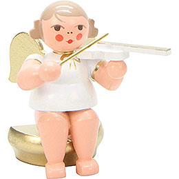 Engel weiß/gold sitzend mit Geige - 5,5 cm