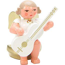 Engel weiß/gold sitzend mit Gitarre - 5,5 cm
