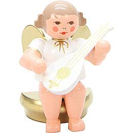 Engel weiß/gold sitzend mit Laute - 5,5 cm