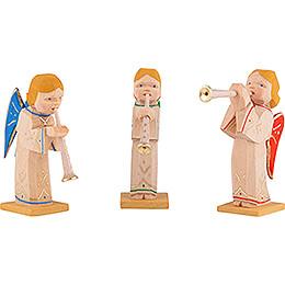 Engelgruppe mit Flöte und verschieden farbigen Flügeln 3-teilig. - 5,5 cm