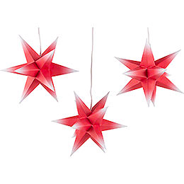 Erzgebirge-Palace Moravian Star Set of Three - Red-White - incl. Lighting - 17 cm / 6.7 inch