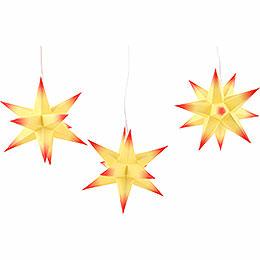 Erzgebirge-Palast Adventsstern 3er-Set gelber Kern mit roten Spitzen inkl. Beleuchtung - 17 cm