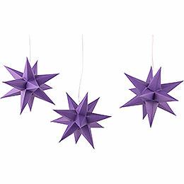 Erzgebirge-Palast Adventsstern 3er-Set violett inkl. Beleuchtung - 17 cm