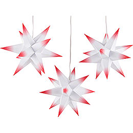 Erzgebirge-Palast Adventsstern 3er-Set weiß-rot inkl. Beleuchtung - 17 cm