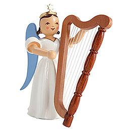 Faltenlangrockengel Harfe, farbig - 6,6 cm