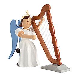 Faltenlangrockengel Harfe sitzend, farbig - 6,6 cm