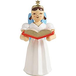 Faltenlangrockengel mit Märchenbuch, farbig - 6,6 cm