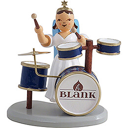 Faltenlangrockengel mit Schlagzeug, farbig - 6,6 cm