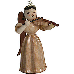 Faltenlangrockengel mit Violine, natur - 6,6 cm