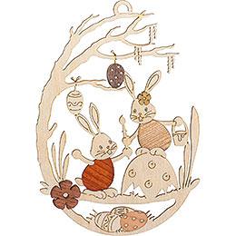Fensterbild Stupsi Hase auf Eierschale - 25 cm
