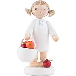 Flachshaarengel mit Apfelkorb - 5 cm