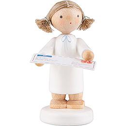 Flachshaarengel mit Brief an den Weihnachtsmann - 5 cm