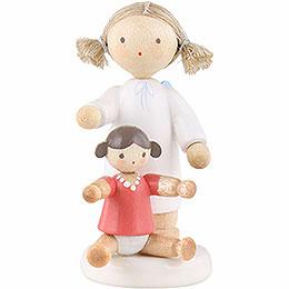 Flachshaarengel mit Puppe - 5 cm
