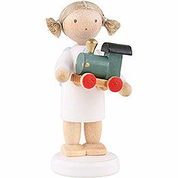 Flachshaarengel mit Spielzeuglokomotive - 5 cm