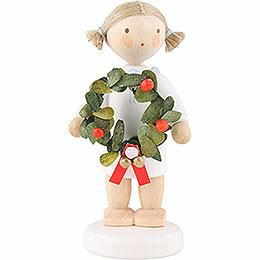 Flachshaarengel mit Weihnachtskranz - 5 cm