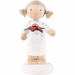 Flachshaarengel mit Weihnachtsstern - 5 cm