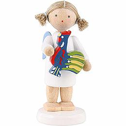 Flachshaarengel mit polnischem Spielzeughahn - 5 cm