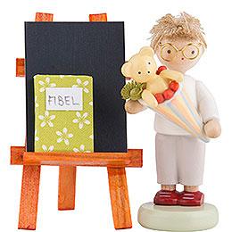 Flachshaarkinder Junge mit Schultüte, Tafel und Fibel - 5 cm
