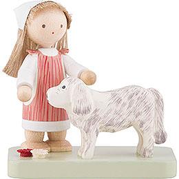 Flachshaarkinder Kleines Mädchen mit großem Hund - 5 cm