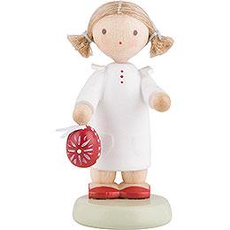 Flachshaarkinder Kleines Mädchen mit sorbischem Osterei - 5 cm