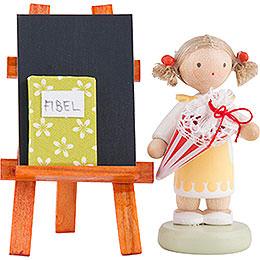 Flachshaarkinder Mädchen mit Schultüte, Tafel und Fibel - 5 cm