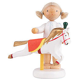 Flax Haired Angel with Bohemian Horse - 5 cm / 2 inch