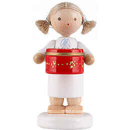 Flax Haired Angel with Can with Sweets, Red - 5 cm / 2 inch