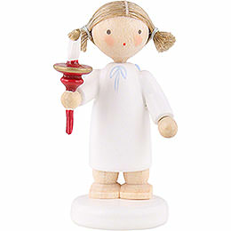 Flax Haired Angel with Candle - 5 cm / 2 inch