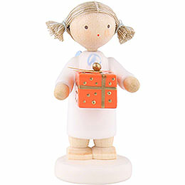 Flax Haired Angel with Christmas Gift, Oran. - 5 cm / 2 inch
