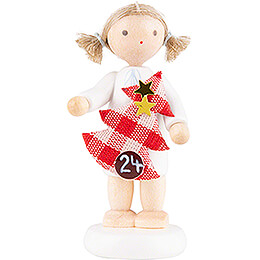 Flax Haired Angel with Christmas Tree (24) - 5 cm / 2 inch
